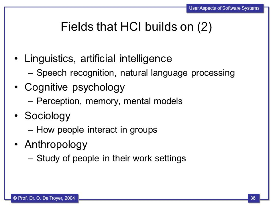 Fields that HCI builds on (2)