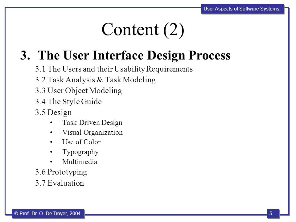 Content (2) The User Interface Design Process