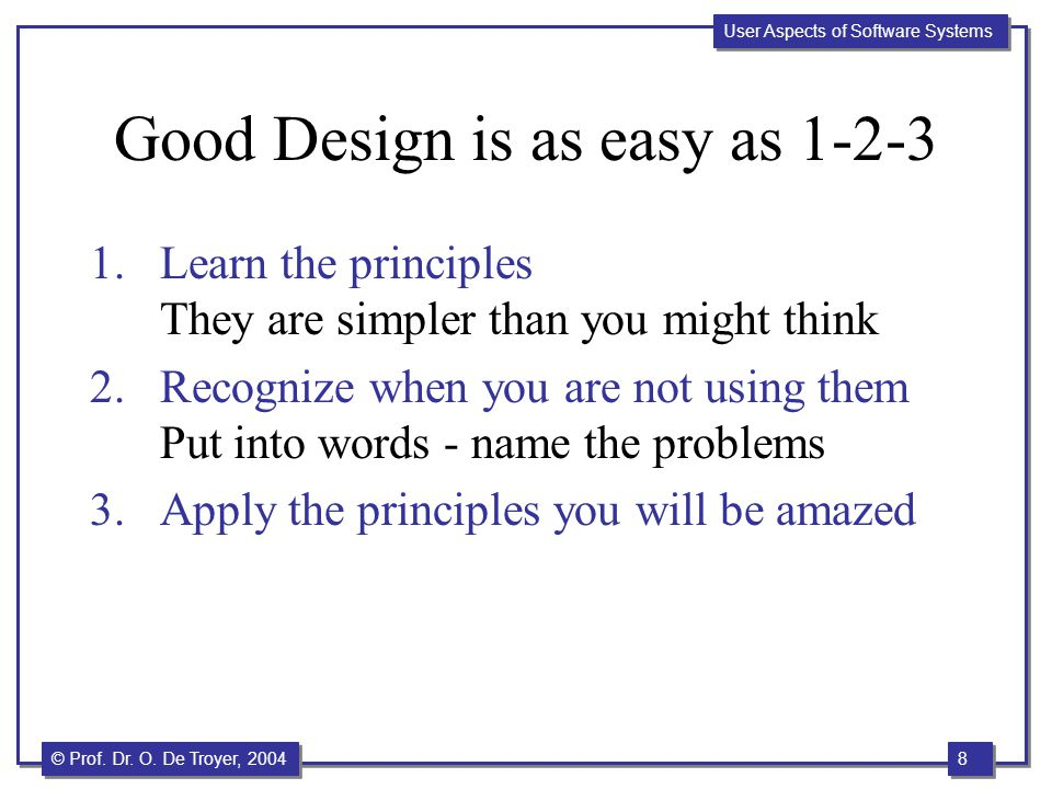Good Design is as easy as 1-2-3