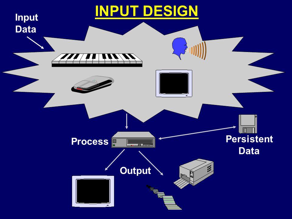 INPUT DESIGN Input Data Persistent Data Process Output
