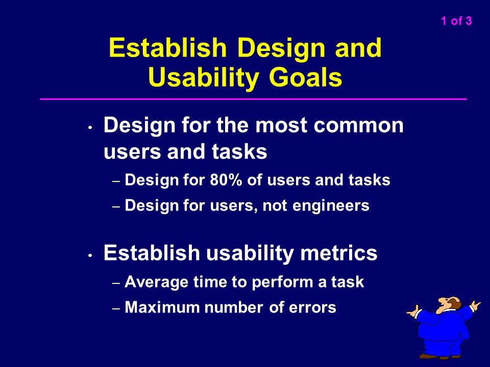 Establish Design and Usability Goals
