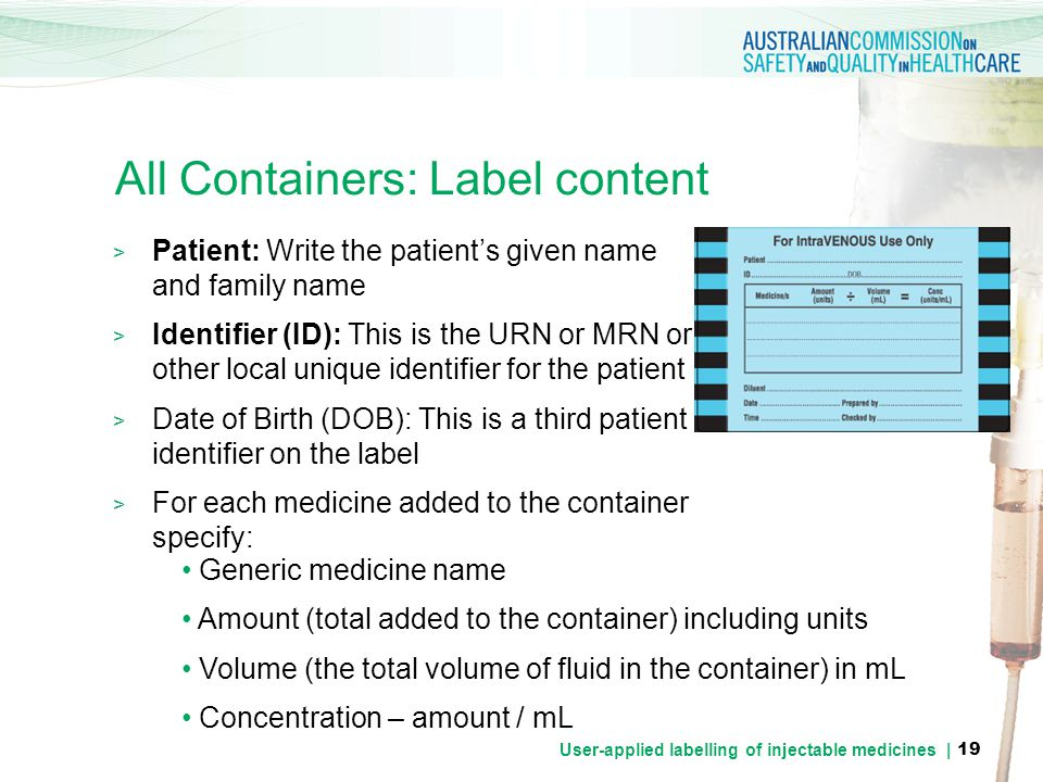 All Containers: Label content