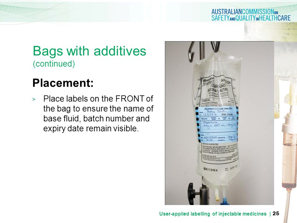 Bags with additives (continued)