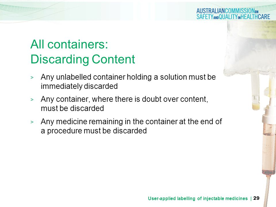 All containers: Discarding Content