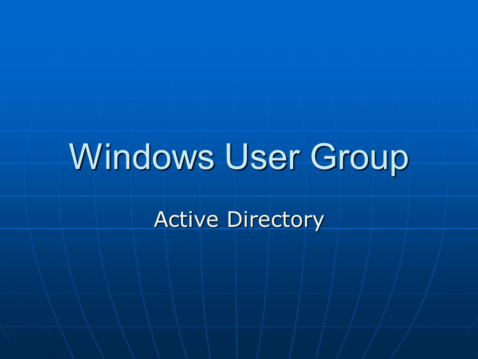 Windows User Group Active Directory