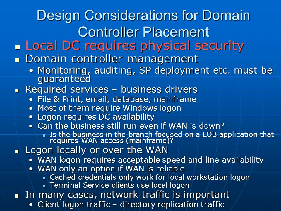 Design Considerations for Domain Controller Placement