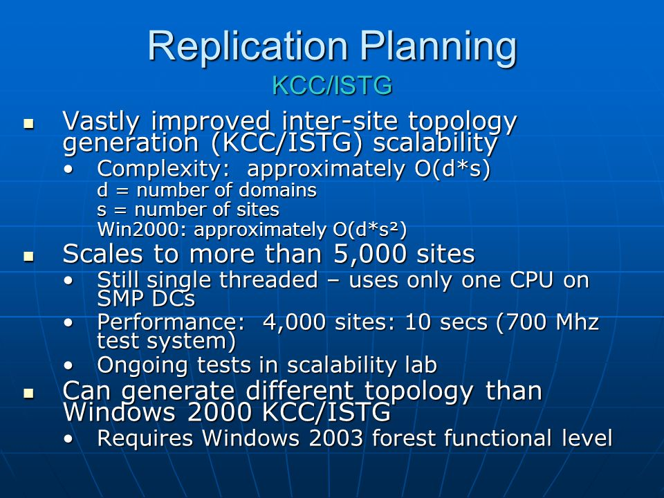 Replication Planning KCC/ISTG