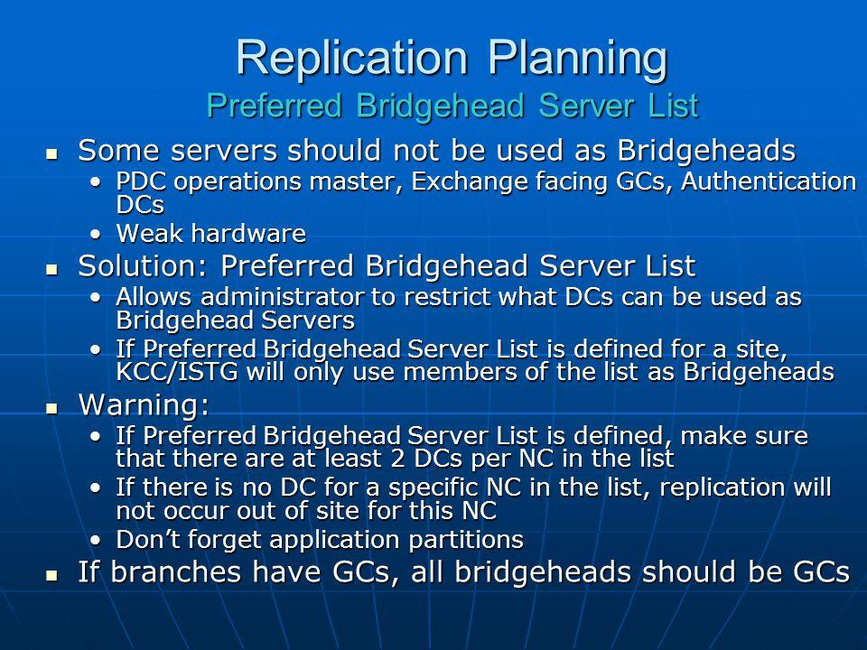 Replication Planning Preferred Bridgehead Server List
