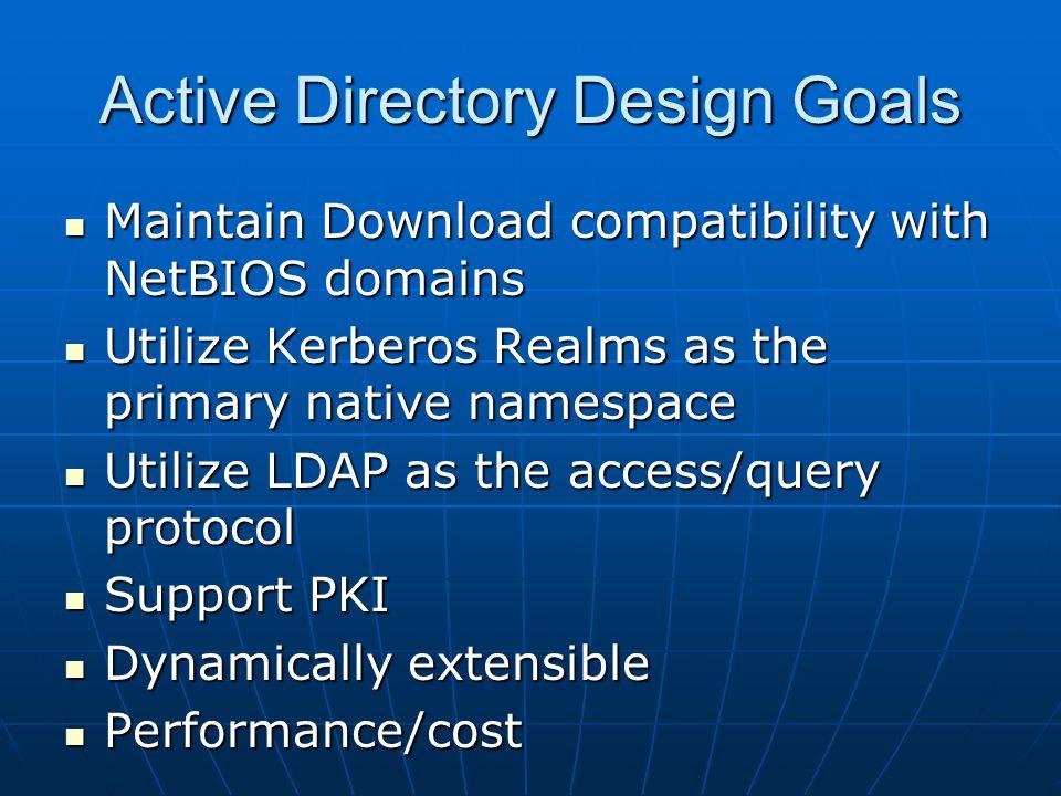 Active Directory Design Goals