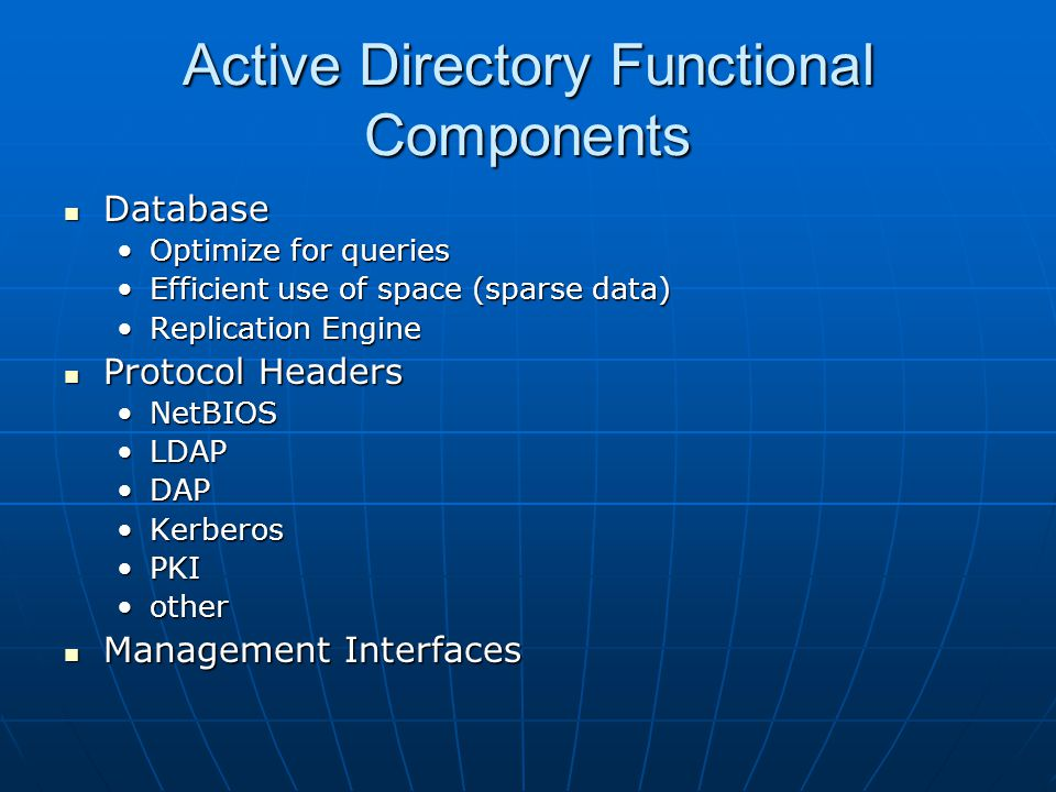 Active Directory Functional Components