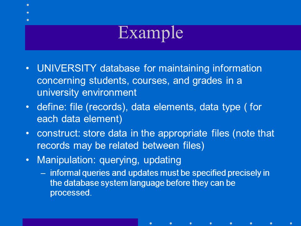 Example UNIVERSITY database for maintaining information concerning students, courses, and grades in a university environment.