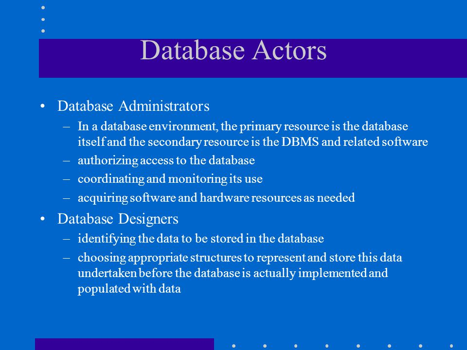 Database Actors Database Administrators Database Designers