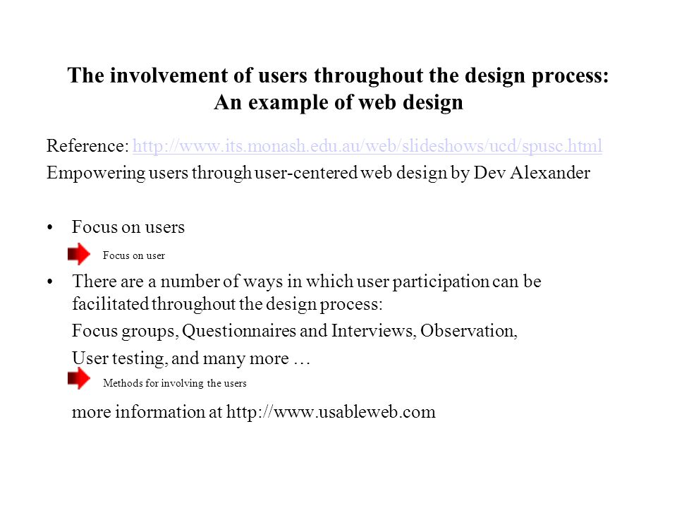 The involvement of users throughout the design process: An example of web design