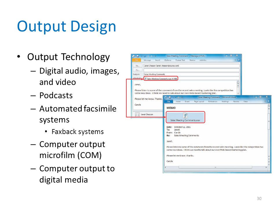 Output Design Output Technology Digital audio, images, and video