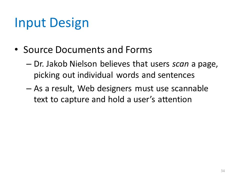 Input Design Source Documents and Forms