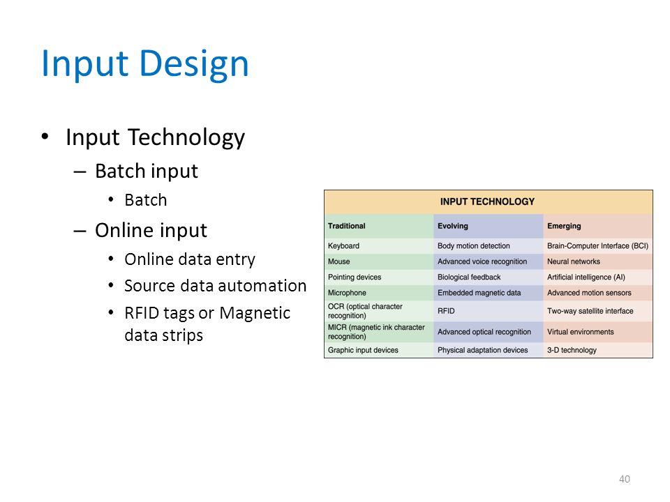 Input Design Input Technology Batch input Online input Batch