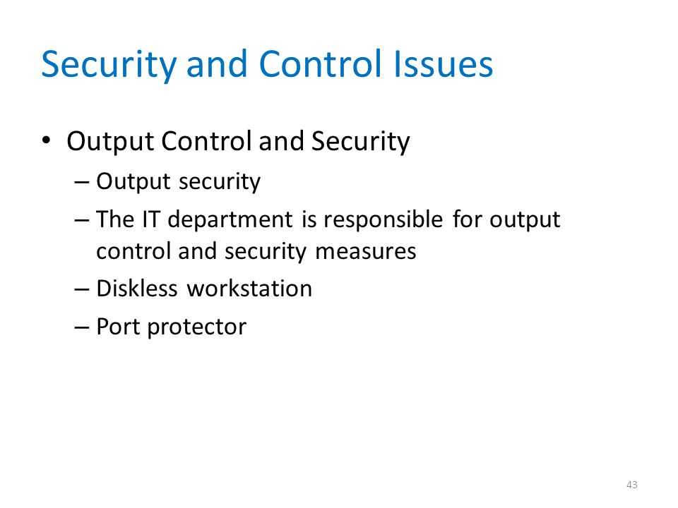 Security and Control Issues