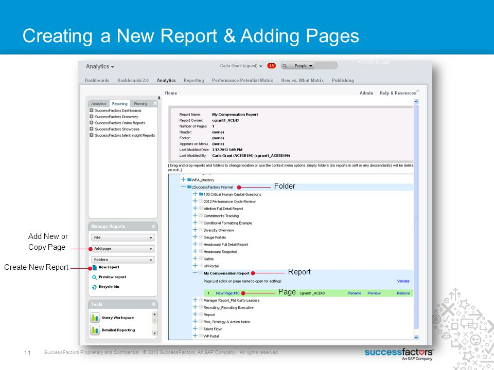 Creating a New Report & Adding Pages