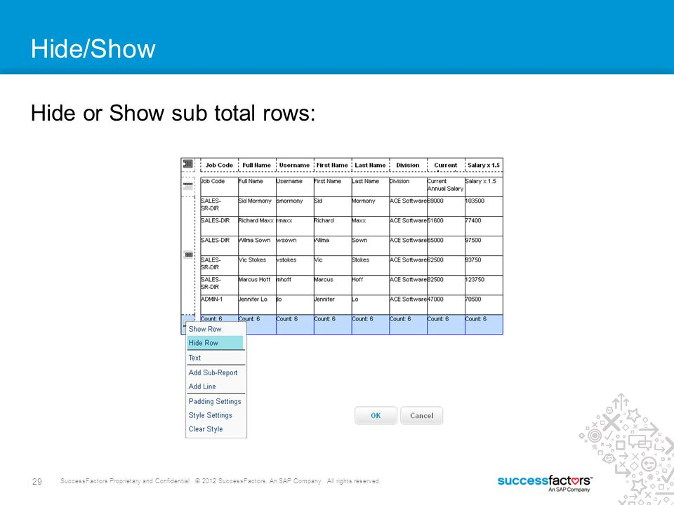 Hide/Show Hide or Show sub total rows:
