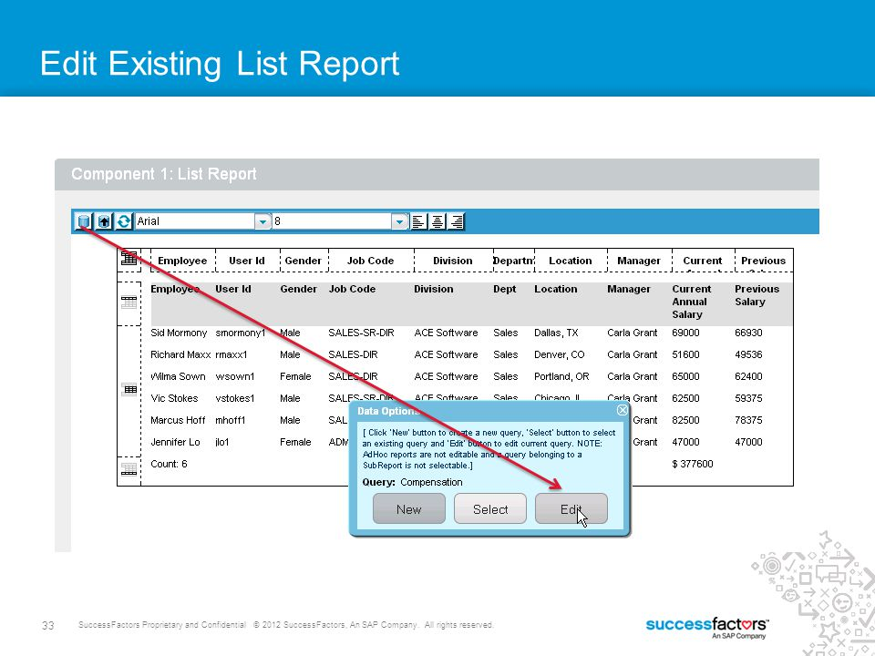 Edit Existing List Report