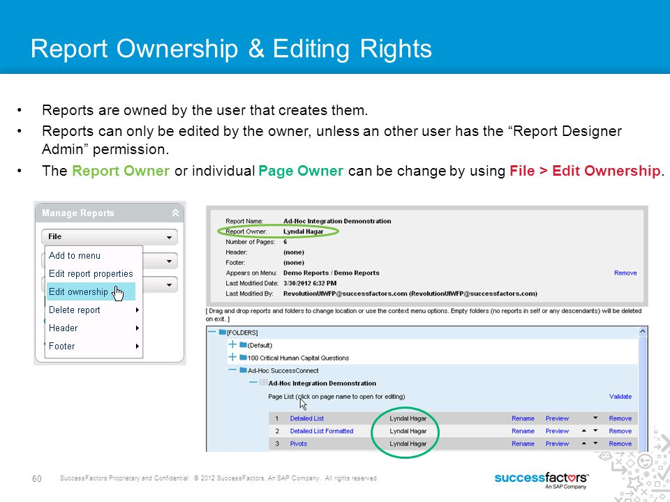 Report Ownership & Editing Rights