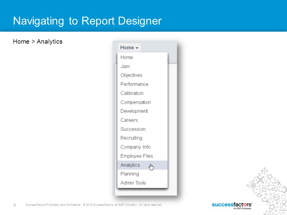 Navigating to Report Designer