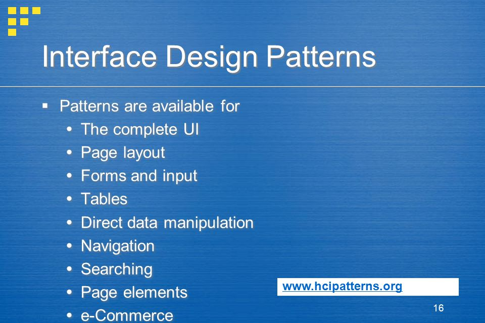 Interface Design Patterns