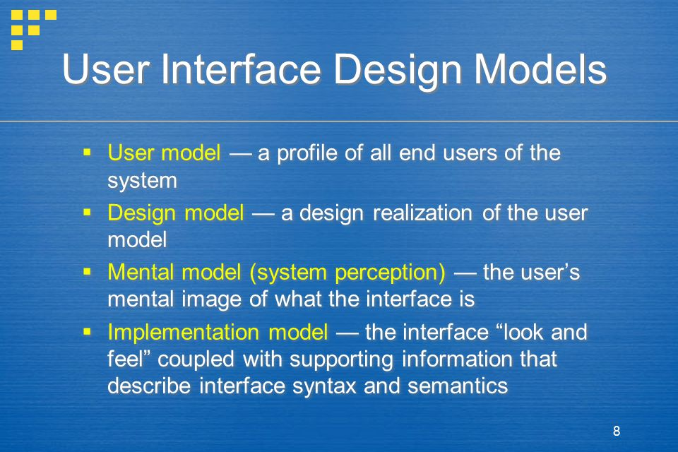 User Interface Design Models