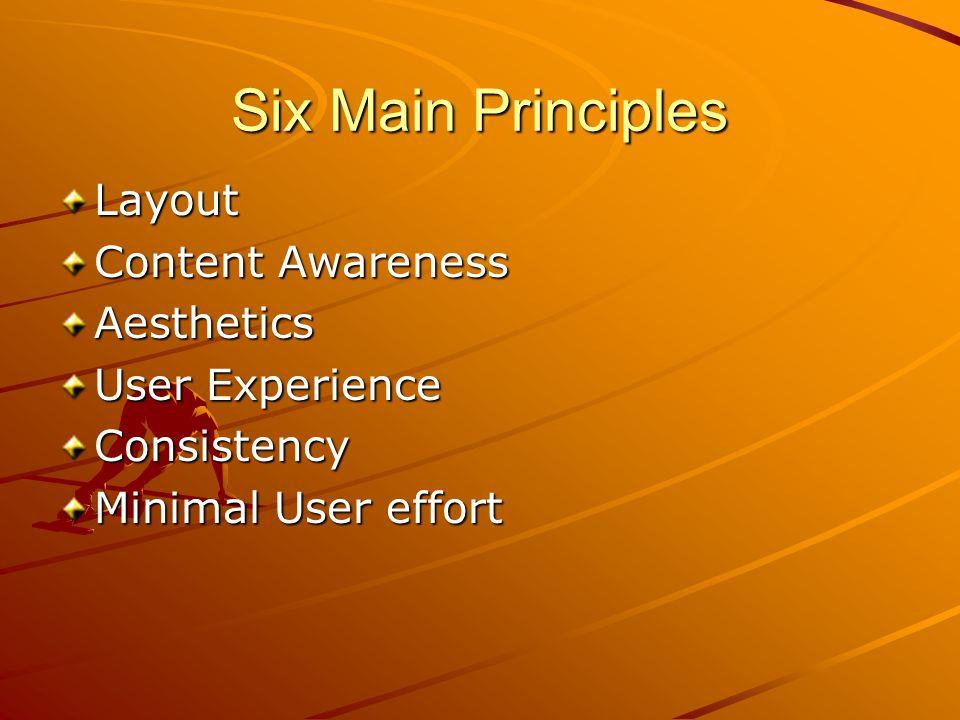 Six Main Principles Layout Content Awareness Aesthetics