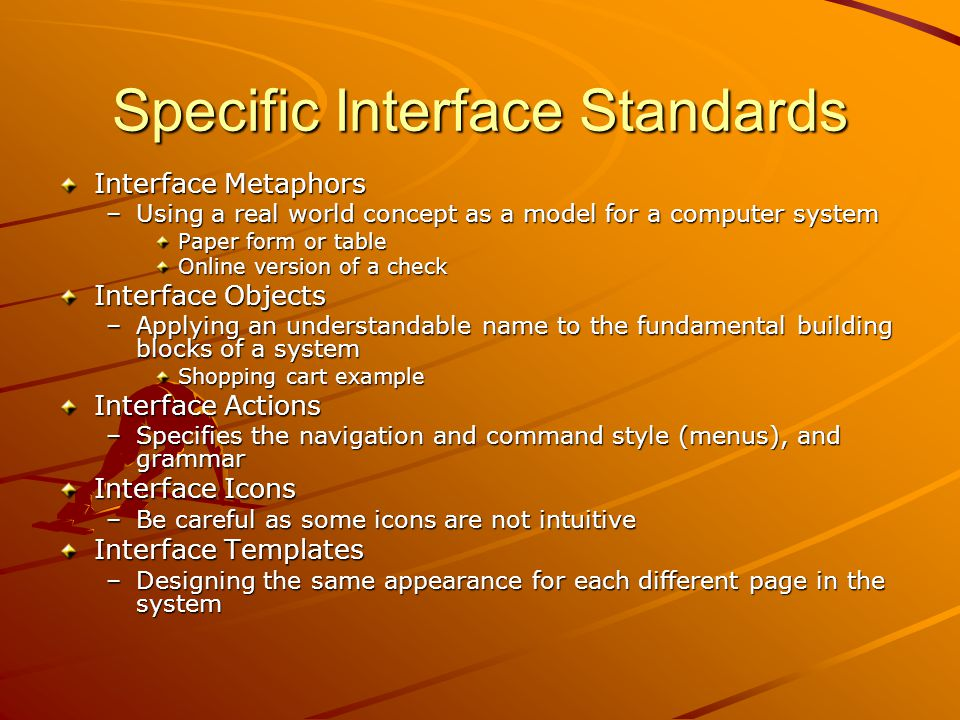 Specific Interface Standards