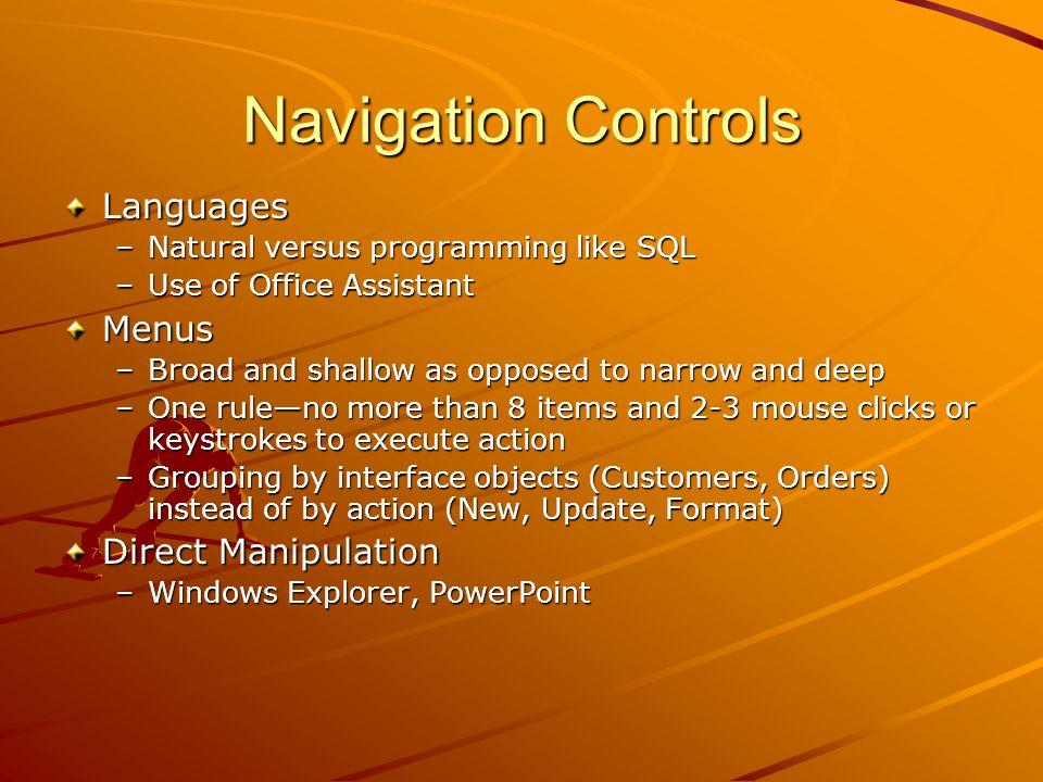 Navigation Controls Languages Menus Direct Manipulation