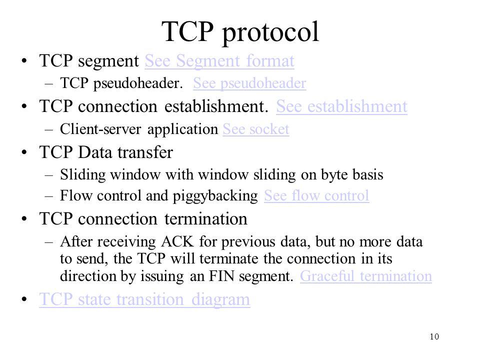 TCP protocol TCP segment See Segment format
