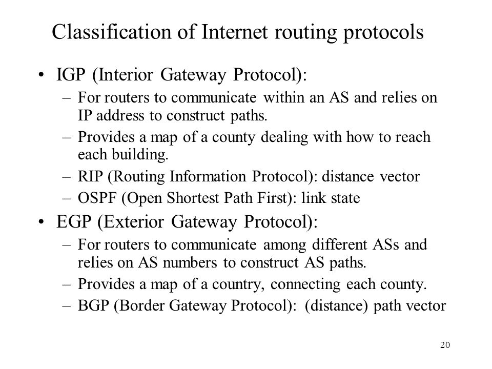 Classification of Internet routing protocols