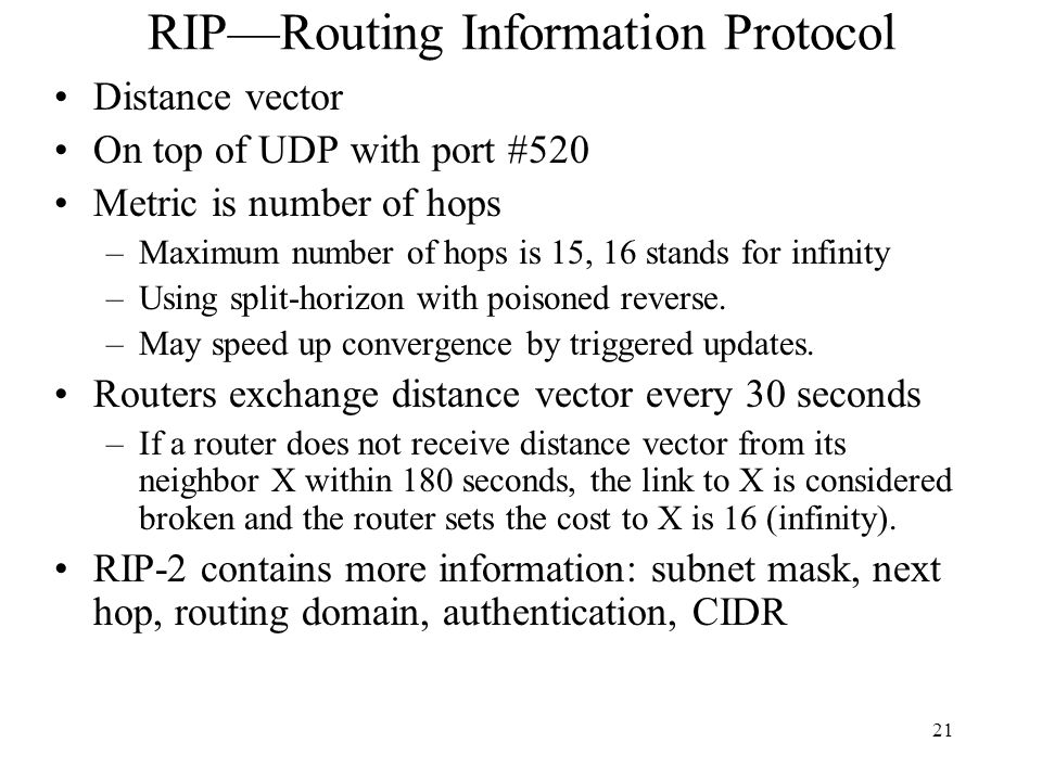 RIP—Routing Information Protocol