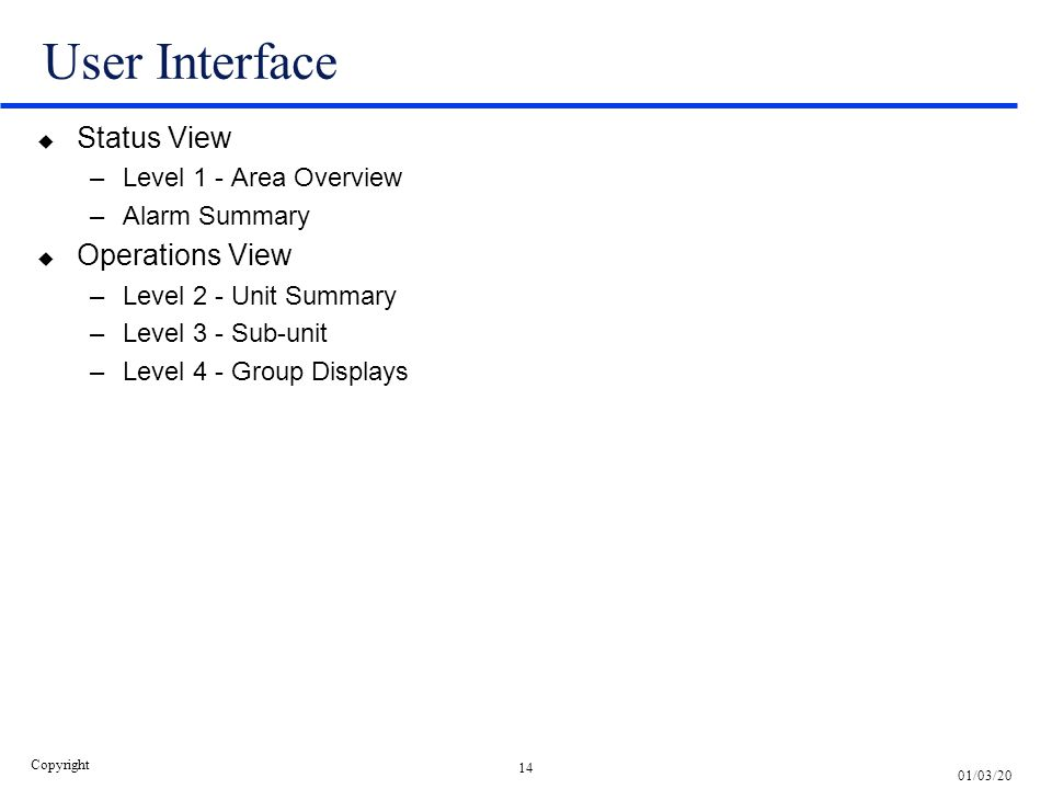 User Interface Status View Operations View Level 1 - Area Overview