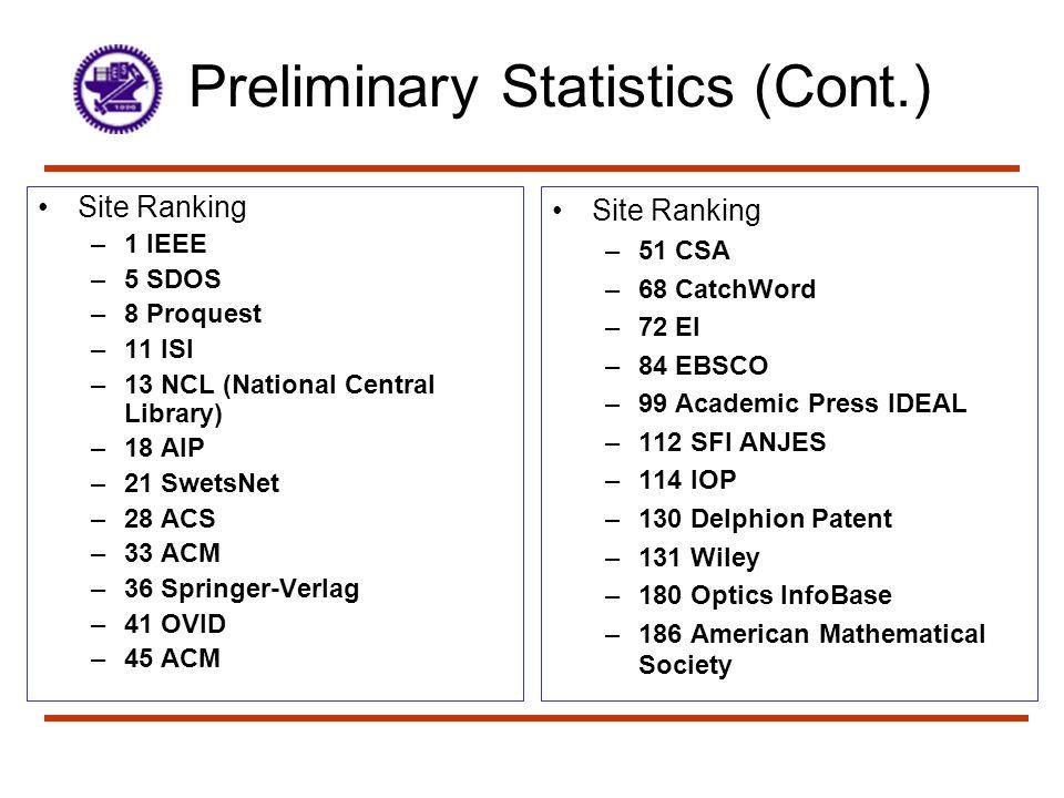 Preliminary Statistics (Cont.)