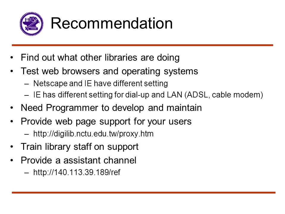 Recommendation Find out what other libraries are doing