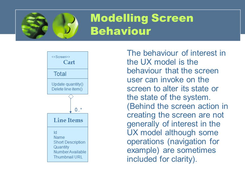 Modelling Screen Behaviour