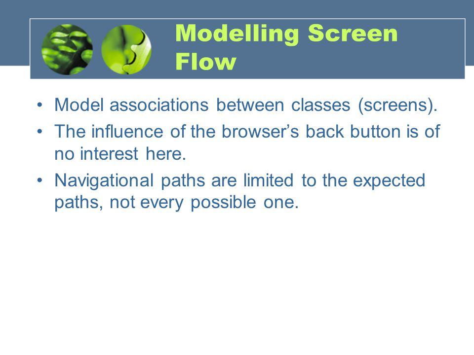 Modelling Screen Flow Model associations between classes (screens).