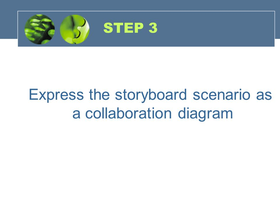 Express the storyboard scenario as a collaboration diagram