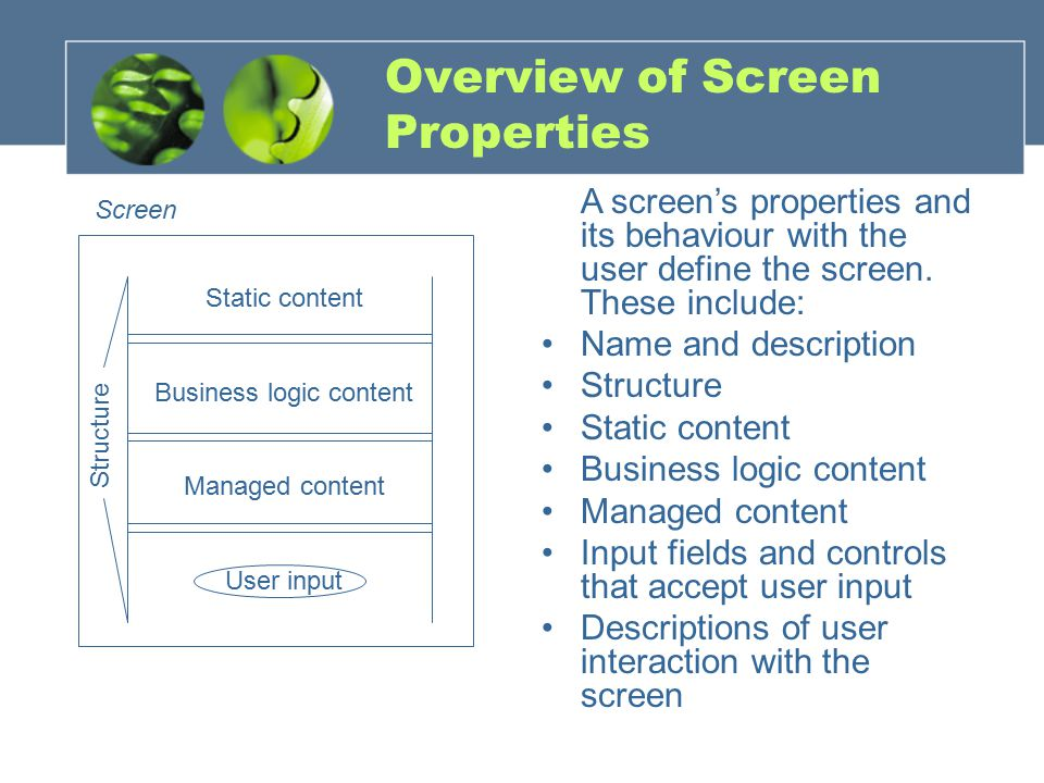 Overview of Screen Properties