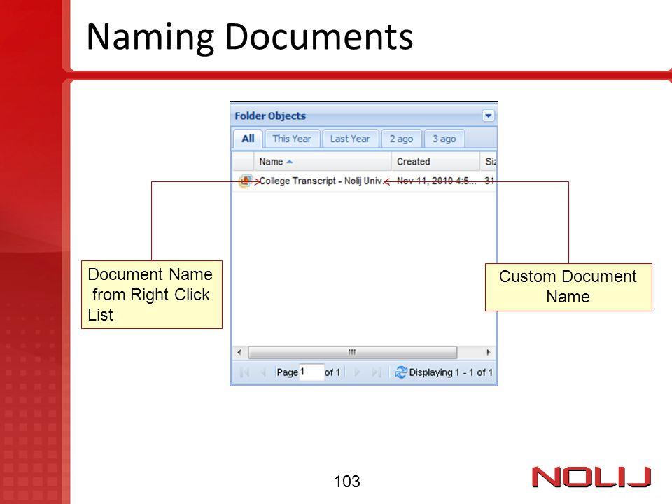 Naming Documents Document Name Custom Document Name