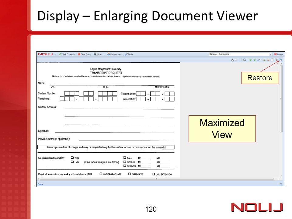 Display – Enlarging Document Viewer