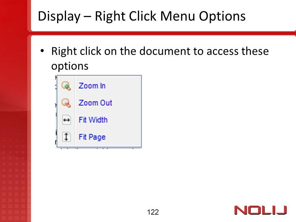 Display – Right Click Menu Options