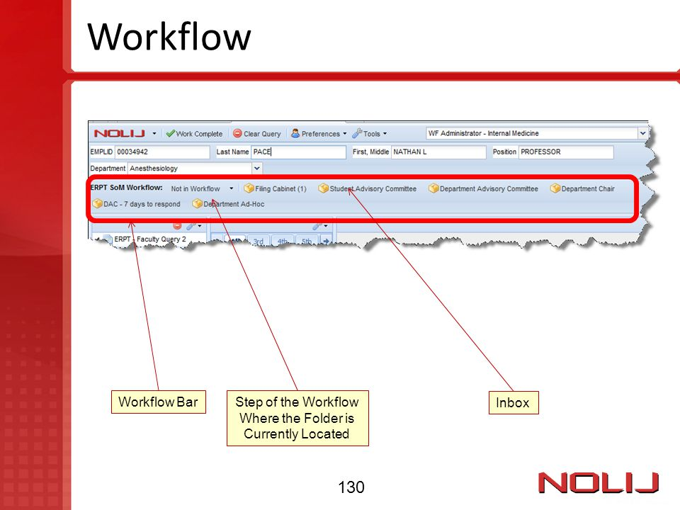 Step of the Workflow Where the Folder is Currently Located