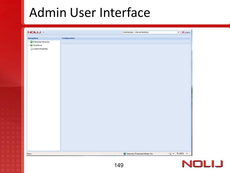 Admin User Interface 149