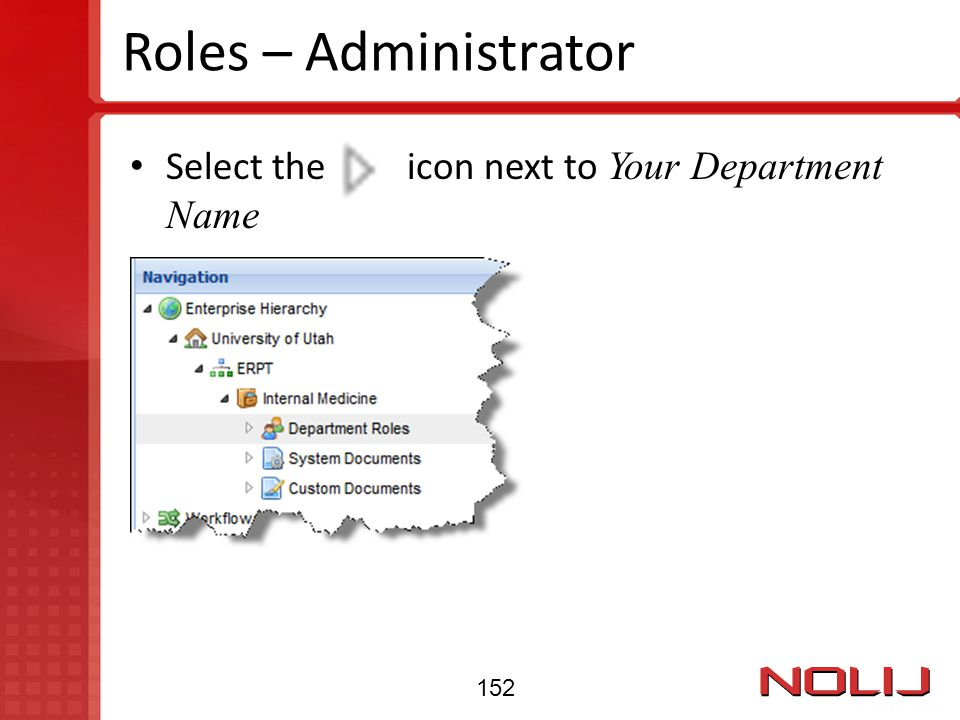 Roles – Administrator Select the icon next to Your Department Name 152