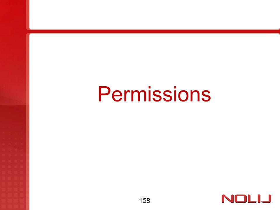 Permissions 158