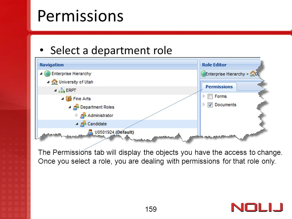 Permissions Select a department role