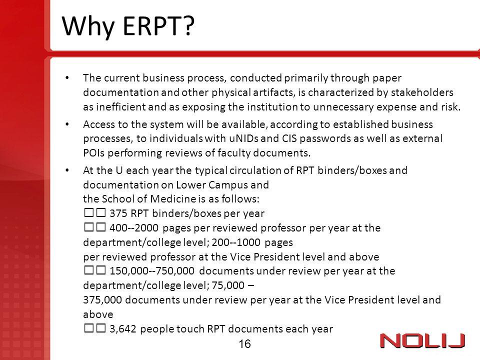 Why ERPT